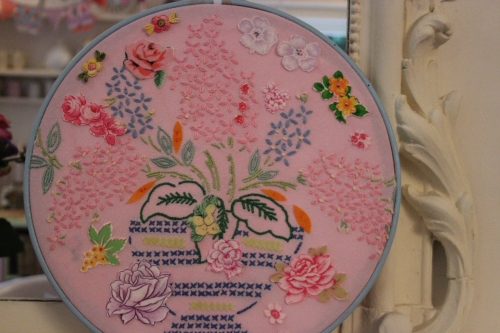 Vintage embroidery hoop picture