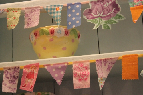 bunting and yellow bowl
