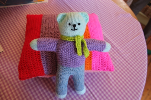 hand knitted teddy