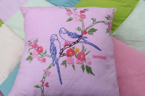 Vintage budgie cushion