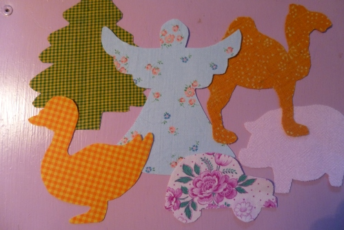 little groups of animals & vintage fabric 001